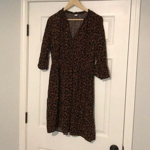 Button v neck 3/4 dress